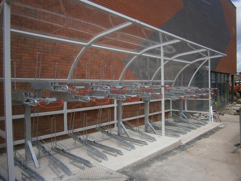 Solent Bike Shelter with Josta 2 Tier Racks