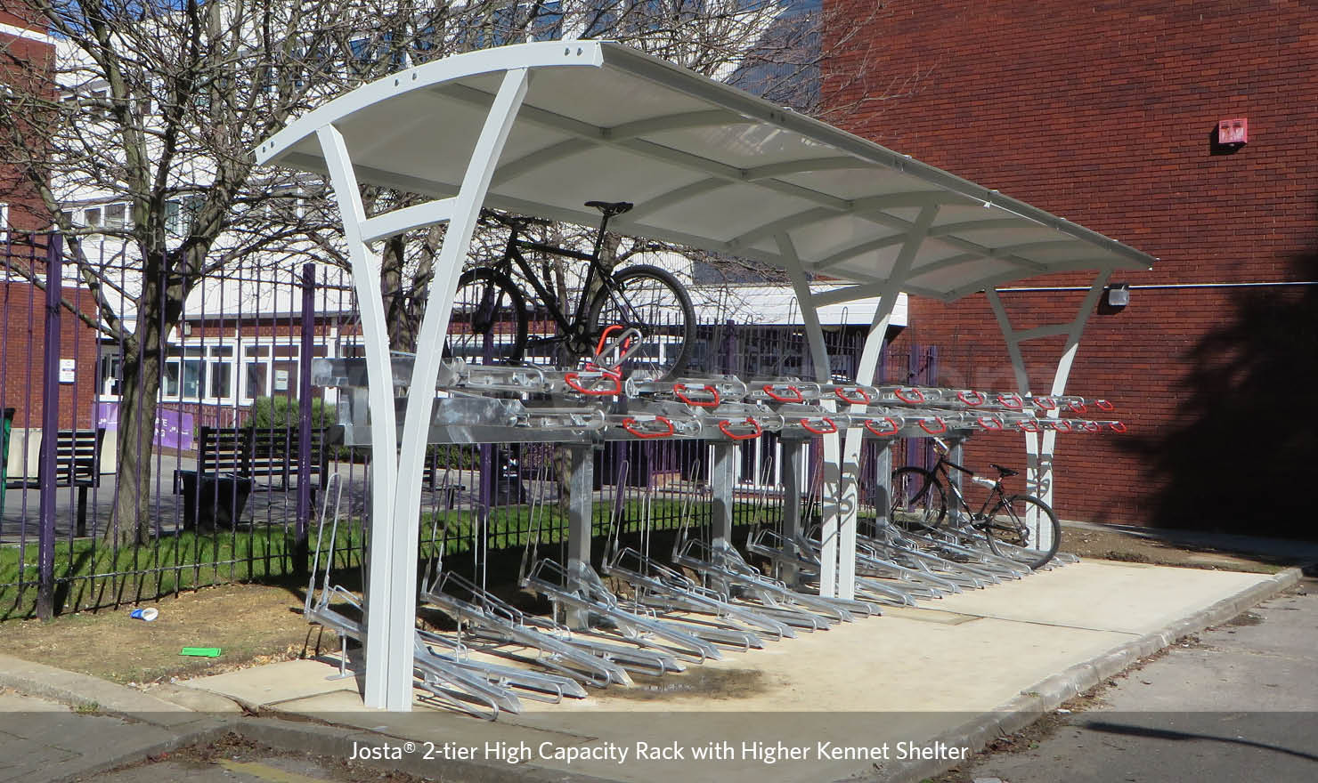 Josta 2-tier cycle parking system under a Kennet shelter