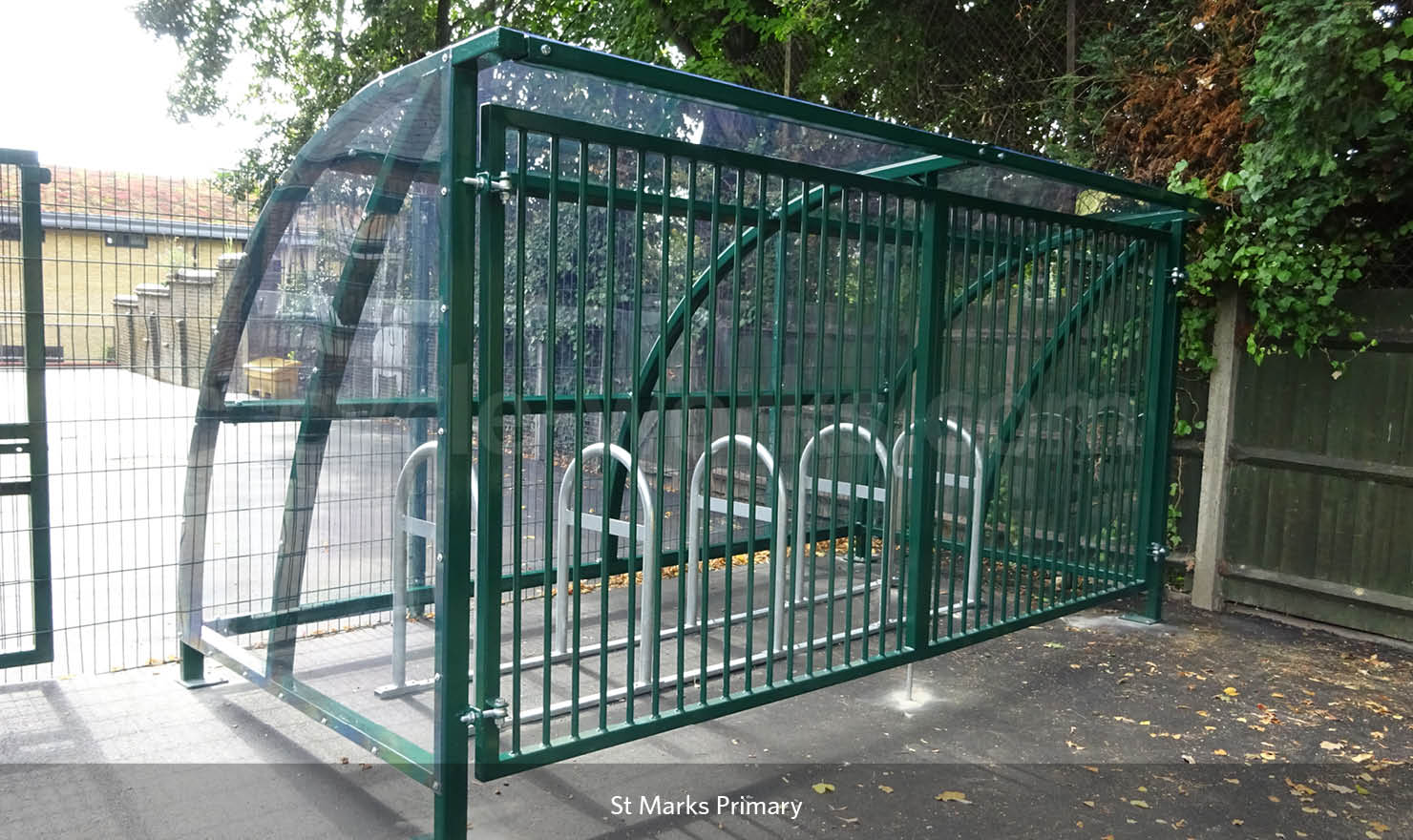 Solent Bike Shelter with Rounded A Racks