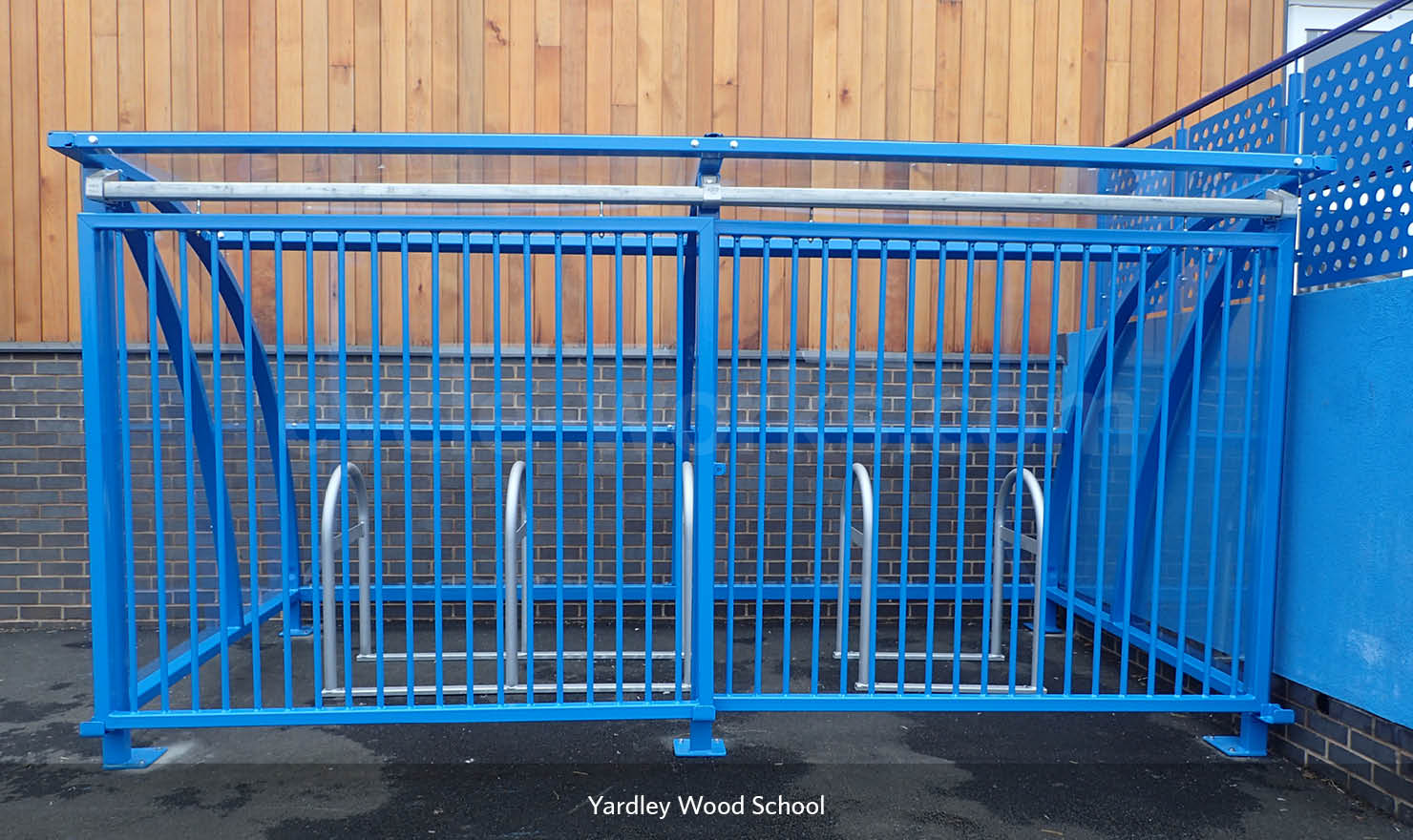 Solent Bike Shelter Installed with Rounded A Racks
