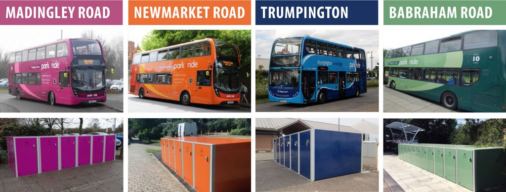 Cambridge Park and Ride Coloured Buses and Cycle Lockers