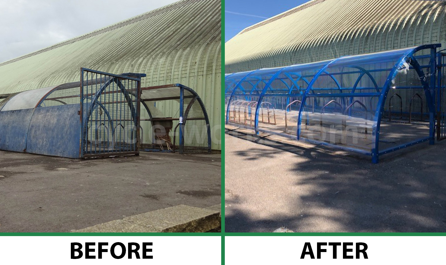 Bike Shelter Refurbishment Before and After